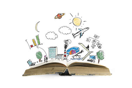 Photo pour Book with modern business sketch and symbol - image libre de droit