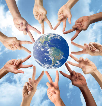 Concept of peace and multiracial with hands. World provided