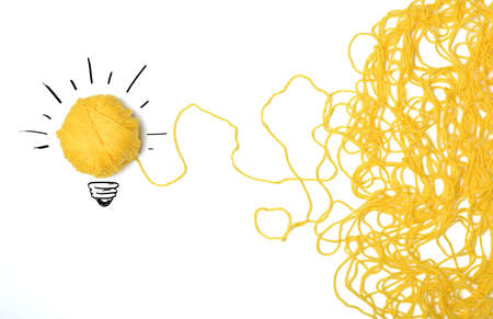 Photo pour Concept of idea and innovation with wool ball - image libre de droit