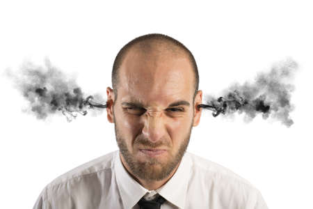 Foto de Concept of stress at work with businessman with smoke - Imagen libre de derechos