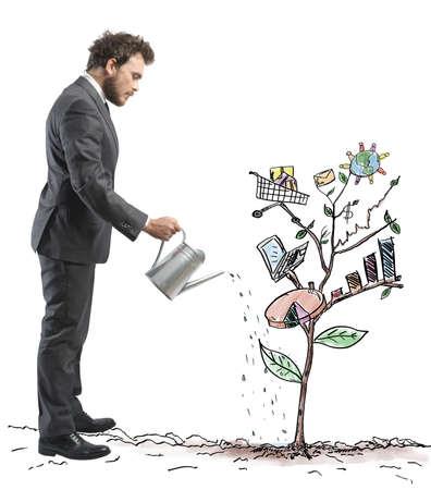 Foto de Concept of Growing company with sketch of a plant with business symbol - Imagen libre de derechos