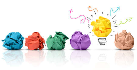 Photo pour Concept of idea with colorful crumpled paper - image libre de droit