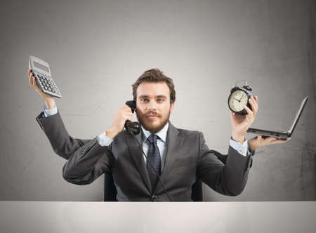 Photo pour Concept of multitasking businessman who works with more arms - image libre de droit