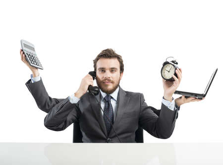 Photo for Concept of multitasking businessman who works with more arms - Royalty Free Image