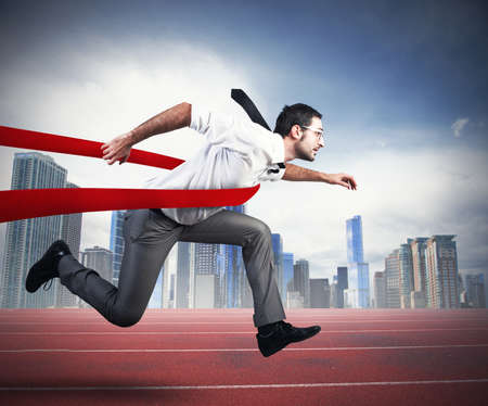 Photo for Concept of successful businessman in a finishing line - Royalty Free Image