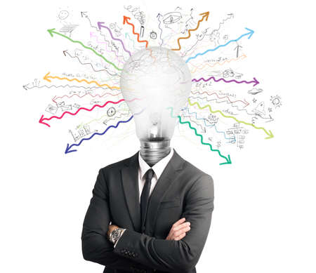 Foto de Concept of genius with illuminated light bulb in head - Imagen libre de derechos