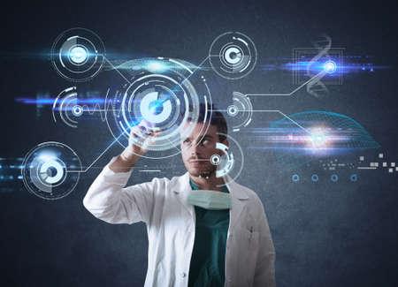 Photo pour Doctor working on a futuristic touchscreen interface - image libre de droit