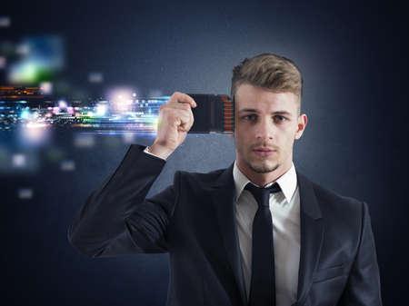 Photo pour Concept of Businessman memory upgrade with futuristic effect - image libre de droit