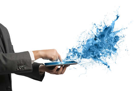 Photo pour Concept of creative technology with businessman and tablet - image libre de droit