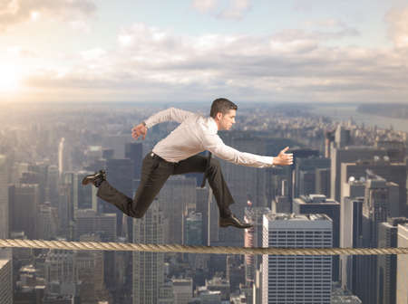 Foto de Concept of hard business with running businessman - Imagen libre de derechos