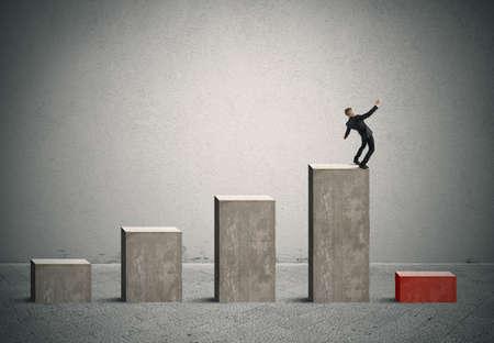 Photo pour Concept of risk and crisis in business with stats bar - image libre de droit