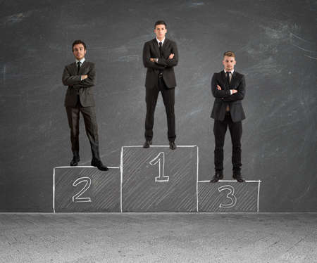 Photo for Concept of competition with businessman on podium - Royalty Free Image