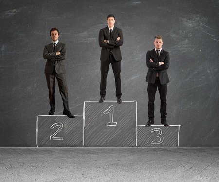 Photo pour Concept of competition with businessman on podium - image libre de droit
