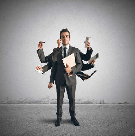 Photo for Concept of multitasking with businessman who carries out various operations - Royalty Free Image
