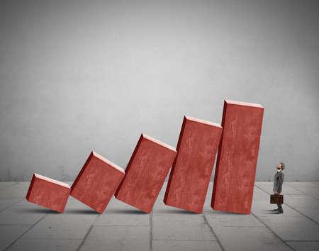Photo pour Concept of crisis with unstable statistic bars - image libre de droit