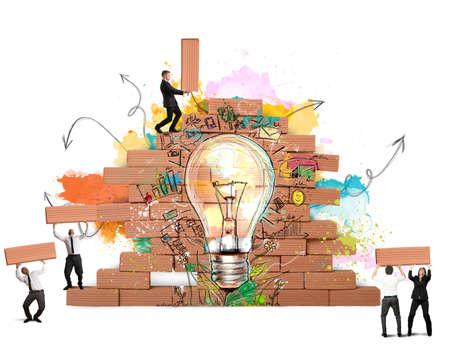 Photo pour Businesspeople works together for a new creative idea - image libre de droit