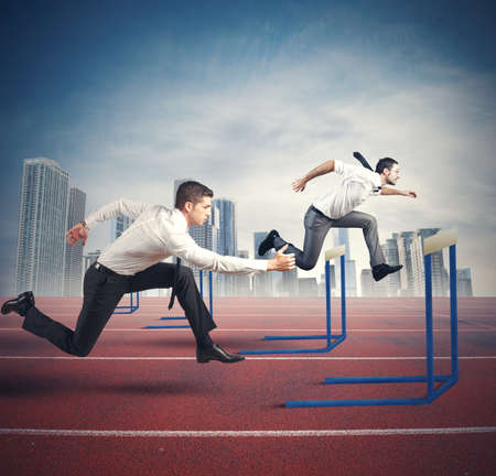 Photo for Concept of business competition with jumping businessman - Royalty Free Image