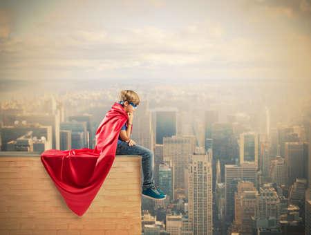 Foto de Concept of fantasy of a hero child - Imagen libre de derechos