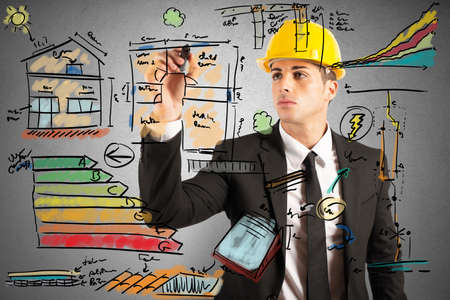 Photo for Energetic project draft of a construction engineer - Royalty Free Image