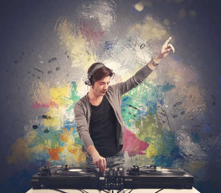Photo pour DJ at work playing music with a mixer - image libre de droit