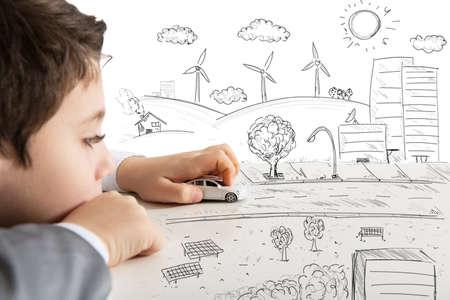 Foto de Concept of fantasy and immagination of a child - Imagen libre de derechos