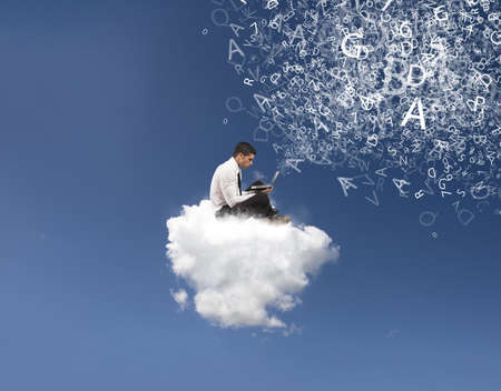 Photo pour Internet and social network concept with businessman on a cloud - image libre de droit