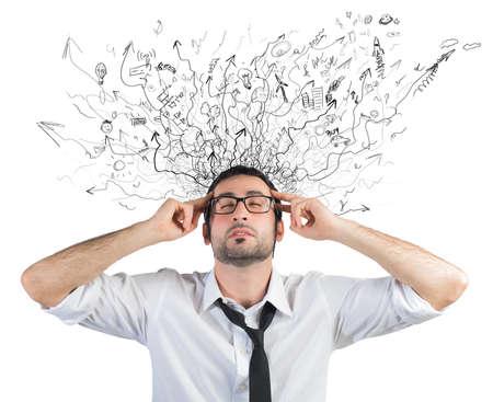 Photo pour Concept of stress and confusion of a businessman - image libre de droit