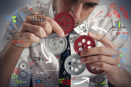 Foto de Concept of build a business system with gear - Imagen libre de derechos