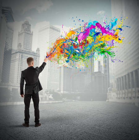 Photo for Concept of colorful and creative business with spray color - Royalty Free Image