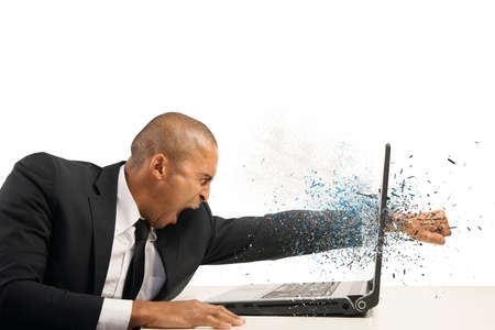 Foto de Concept of stress and frustration of a businessman with laptop - Imagen libre de derechos