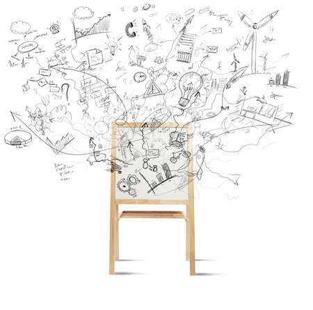 Photo for Concept of creativity with blackboard full of new project - Royalty Free Image