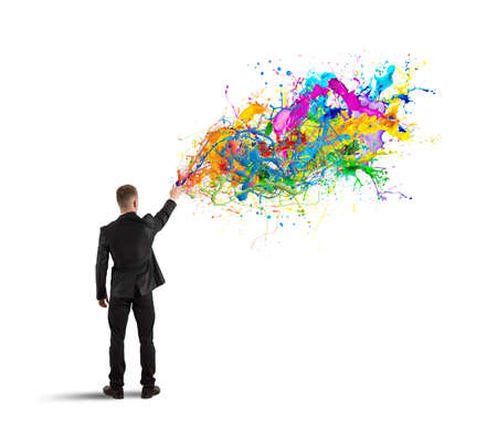 Foto de Concept of colorful and creative business with spray color - Imagen libre de derechos