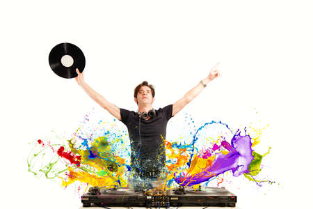 Photo for Cool DJ playing music with splash effect - Royalty Free Image