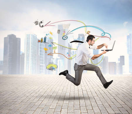 Foto de Concept of fast business with running businessman - Imagen libre de derechos