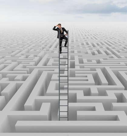 Photo pour Businessman looking for the solution of the maze - image libre de droit