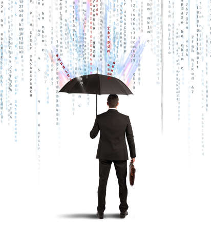 Photo pour Antivirus and firewall concept with businessman protected with umbrella - image libre de droit