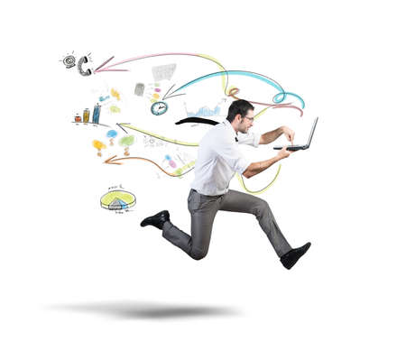 Photo pour Concept of fast business with running businessman - image libre de droit