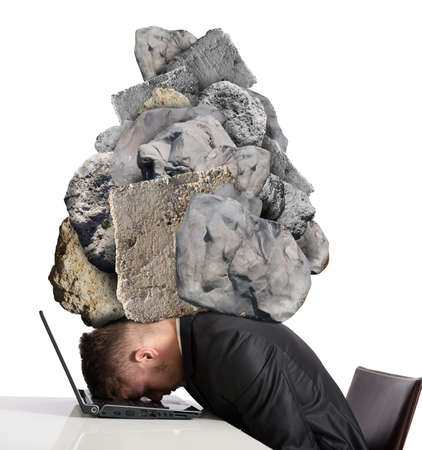 Photo pour Concept of Stress at work with rocks above the head - image libre de droit