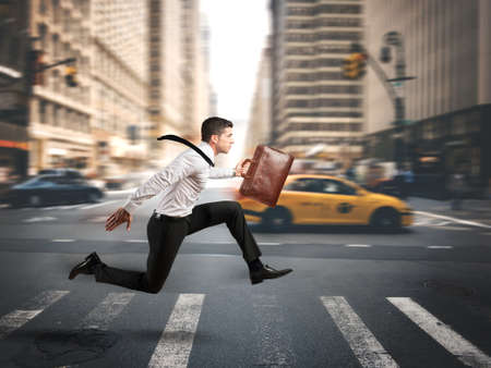 Photo for Concept of fast business with running businessman - Royalty Free Image