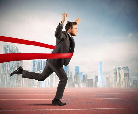 Foto de Concept of successful businessman in a finishing line - Imagen libre de derechos