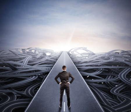 Photo pour Businessman walking the easy way to success - image libre de droit