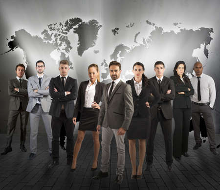 Photo pour Concept of global support team with a company team - image libre de droit