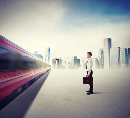 Photo pour Concept of career with fast train in the city - image libre de droit