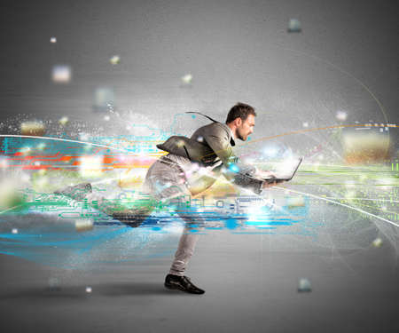 Photo for Concept of fast internet with running businessman with a laptop - Royalty Free Image