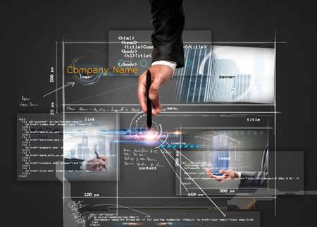 Photo pour Businessman builds a modern website structure with a pen - image libre de droit