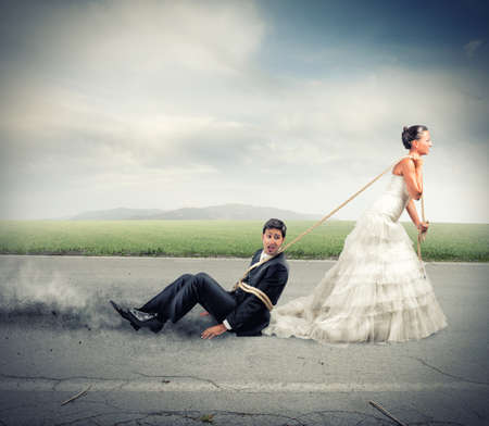 Photo pour Funny concept of bound and trapped by marriage - image libre de droit