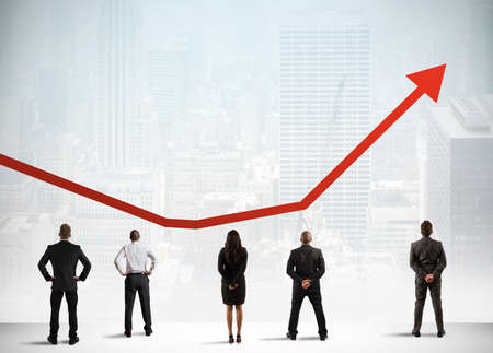 Photo pour Business team observe growing successful statistics trend - image libre de droit
