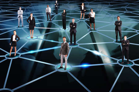 Foto de Social network concept with a group of a businesspeople - Imagen libre de derechos