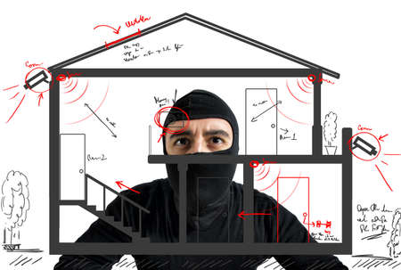 Foto de Thief apartment studying security system of a new house - Imagen libre de derechos