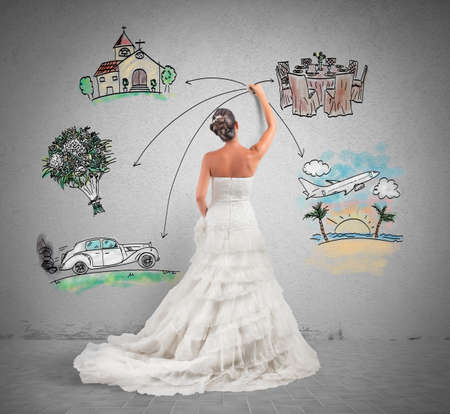 Photo for A woman arranges her marriage with a draft project - Royalty Free Image
